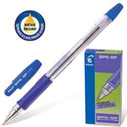 """Ручка шариковая масляная с грипом PILOT """"BPS-GP"""", корпус прозрачный, узел 0,7 мм, линия 0,32 мм, синяя, BРS-GP-F-L"""